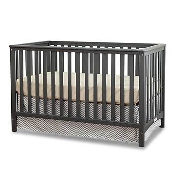 Stork Craft Hillcrest Fixed Side Convertible Crib, Grey, (AD904520-03G)