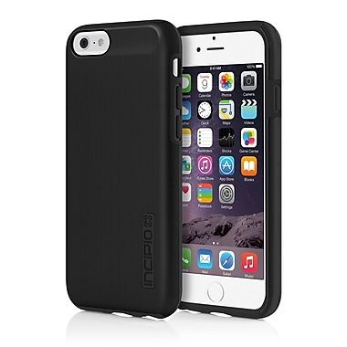 Incipio DualPro Shine Dual Layer Protection Case with Brushed Aluminum Finish for iPhone 6, Black/Black, (IPH1180BLK)