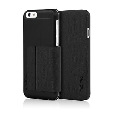 Incipio Highland Ultra-Thin Premium Folio with Brushed Aluminum Style Finish for iPhone 6, Black/Black, (IPH1183BLK)