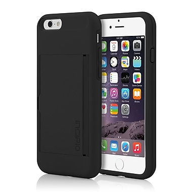 Incipio Stowaway Credit Card Case with Integrated Stand for iPhone 6, Black/Black, (IPH1185BLK)