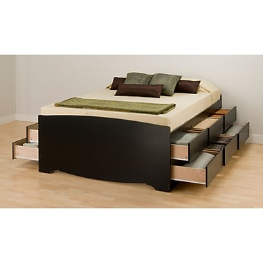 Prepac 63 Tall Queen Captains Platform Storage Bed With 12 Drawers