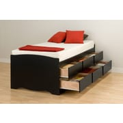 "Prepac 41"" Tall Twin Captain's Platform Storage Bed With 6 Drawers, Black"