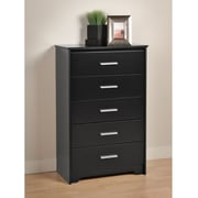 "Prepac™ 45-1/4"" Coal Harbor 5 Drawer Chest, Black"