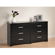 "Prepac™ 29-1/2"" Coal Harbor 6 Drawer Dresser, Black"