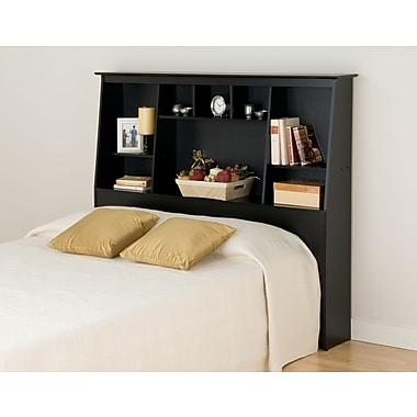 PrepacMC – Tête de lit bibliothèque haute à profil incliné pour lit deux places ou grand lit, 65 3/4 po, fini noir