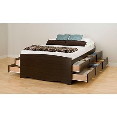 PrepacMC – Grand lit de rangement capitaine haut à 12 tiroirs, 63 po, fini espresso