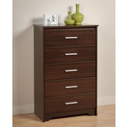 "Prepac™ 45-1/4"" Coal Harbor 5 Drawer Chest, Espresso"