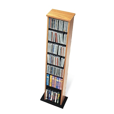 Prepac™ Slim Multimedia Storage Tower, Oak and Black