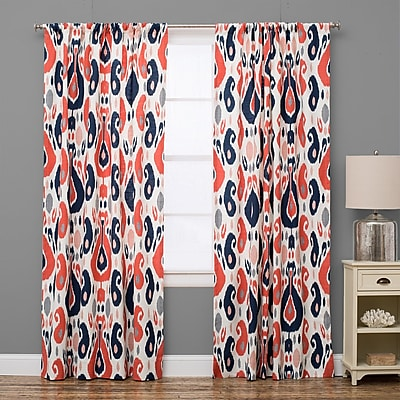 The Pillow Collection Ikat Semi-Sheer Rod Pocket Single Curtain Panel; 50'' W x 72'' L