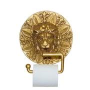 Hickory Manor House Wall Mounted Lion Plaque Wall Mounted Toilet Paper Holder; Gold Leaf