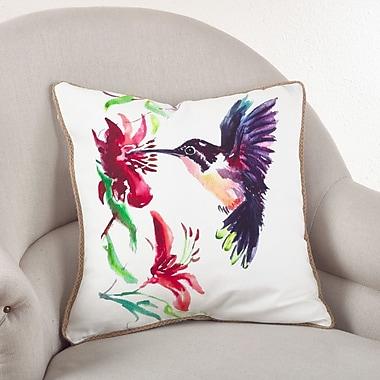 Saro Hummingbird Cotton Throw Pillow