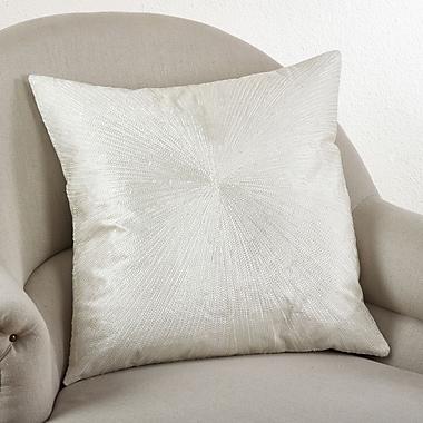 Saro Shimmering Starburst Cotton Throw Pillow; Vanilla