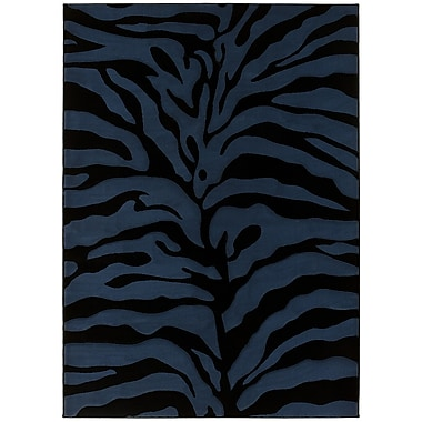Brady Home Blue/Black Area Rug; 5' x 7'