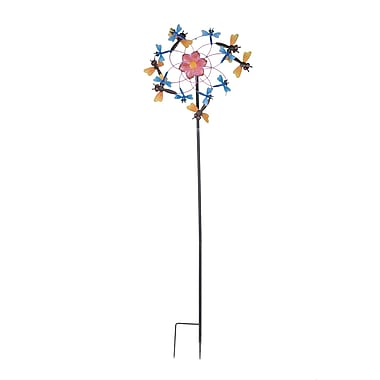 Sunjoy Dragonfly Kinetic Iron Wind Catcher Garden Stake