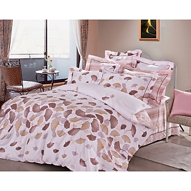 The St. Pierre Home Fashion Collection Rose Feuilles 3 Piece Reversible Duvet Cover Set; King