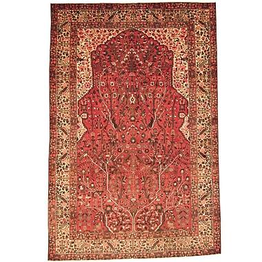 Herat Oriental Persian Bakhtiari Hand-Knotted Red/ Beige Area Rug