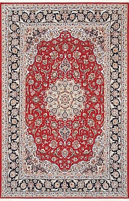 Pasargad Isfahan Hand-Knotted Red Area Rug