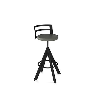 Amisco (41625-WE/1B25DNF4) Swirl Screw Metal Stool, Textured Black/Medium Grey
