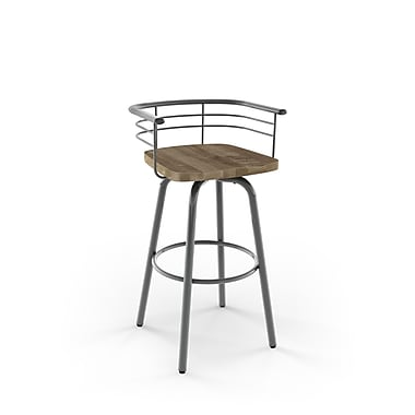 Amisco (41293-26WE/1B2486) Brisk Swivel Metal Counter Stool with Distressed Wood Seat, Glossy Grey/Beige