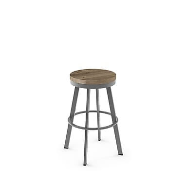Amisco (42244-26WE/1B2486) Warner Swivel Metal Counter Stool with Distressed Wood Seat, Glossy Grey/Beige