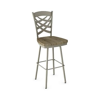 Amisco (41277-26WE/1B5686) Weaver Swivel Metal Counter Stool with Distressed Wood Seat, Matteet Light Grey/Beige