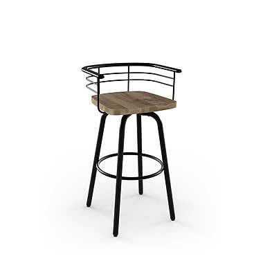 Amisco (41293-30WE/1B2586) Brisk Swivel Metal Barstool with Distressed Wood Seat, Textured Black/Beige