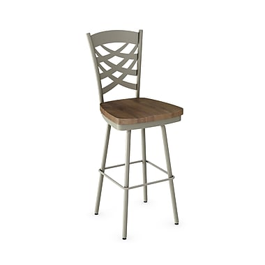 Amisco (41277-30WE/1B5687) Weaver Swivel Metal Barstool with Distressed Wood Seat, Matteet Light Grey/Medium Brown