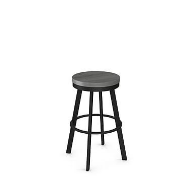 Amisco (42244-30WE/1B2589) Warner Swivel Metal Barstool with Distressed Wood Seat, Textured Black/Light Grey