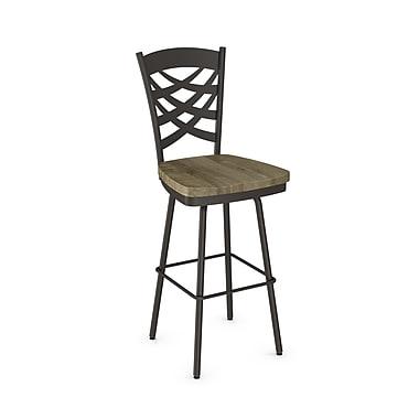 Amisco (41277-30WE/1B7586) Weaver Swivel Metal Barstool with Distressed Wood Seat, Textured Dark Brown/Beige