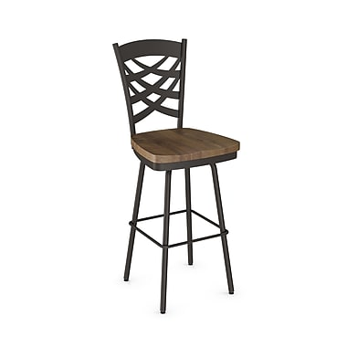 Amisco (41277-26WE/1B7587) Weaver Swivel Metal Counter Stool with Distressed Wood Seat, Textured Dark Brown/Medium Brown