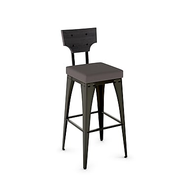 Amisco Rally Metal Counter Stool with Distressed Wood Backrest, Gun Metal Finish/Warm Medium Grey/Medium Dark Grey