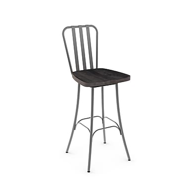 Amisco (41267-30WE/1B2484) Bond Swivel Metal Barstool with Distressed Wood Seat, Glossy Grey/Medium Dark Grey