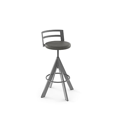 Amisco (41625-WE/1B24DNF4) Swirl Screw Metal Stool, Glossy Grey/Medium Grey