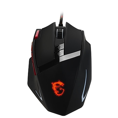 MSI Interceptor DS200 Ergonomic USB Gaming Mouse, Black/Red, 7 Buttons