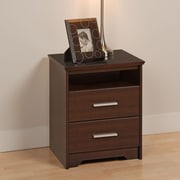 "Prepac™ 27"" Coal Harbor 2 Drawer Tall Nightstand With Open Shelf, Espresso"