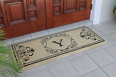 A1 Home Collections LLC First Impression Hayley Monogrammed Entry Double Doormat; Y