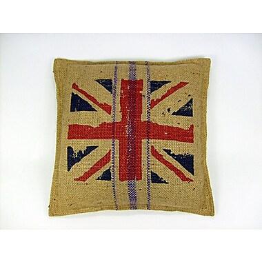American Mills British Flag Jute Throw Pillow