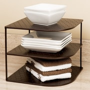 Seville classics perforated corner kitchen cabinet organizer rack bronze staples - Storage staples corner ...