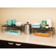 Seville Classics Perforated Expandable Kitchen Cabinet Helper Shelf; Gun Metal