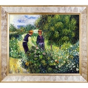 La Pastiche Picking Flowers, 1875 by Pierre-Auguste Renoir Framed Painting Print