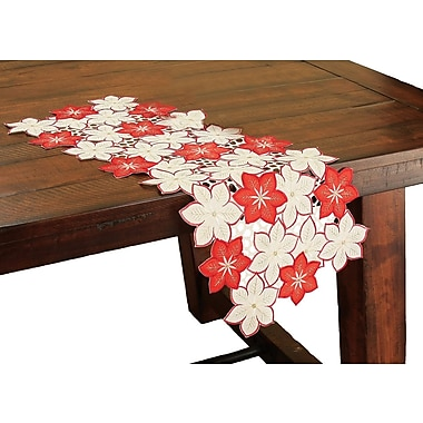 Xia Home Fashions Candy Cane Poinsettia Embroidered Cutwork Holiday Table Runner; 28'' W x 12'' L