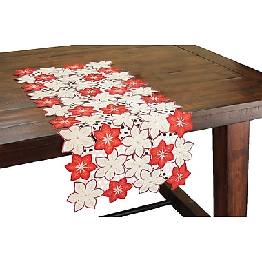 Xia Home Fashions Candy Cane Poinsettia Embroidered Cutwork Holiday Table Runner; 34'' W x 16'' L