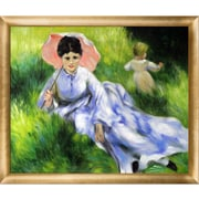 Tori Home Woman w/ a Parasol and a Small Child on a Sunlit Hillside by Renoir Framed Painting