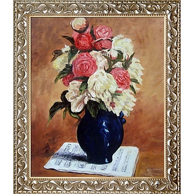 La Pastiche 'Bouquet of Peonies on a Musical Score, 1876' by Paul Gauguin Framed Painting Print
