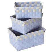 Evideco 3 Piece Checkered Woven Basket Set; Green and Gray