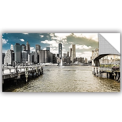 ArtWall Richard James Sailboat on East River Wall Mural; 24'' H x 48'' W