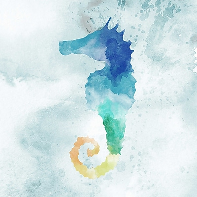 PTM Images Water Color Seahorse w/ Glass Coat Painting Print on Wrapped Canvas