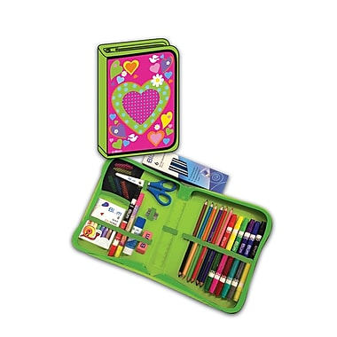 Blumberg Company All-In-One School Supplies with Carrying Case, Heart, 41/Set (BMB26011669)