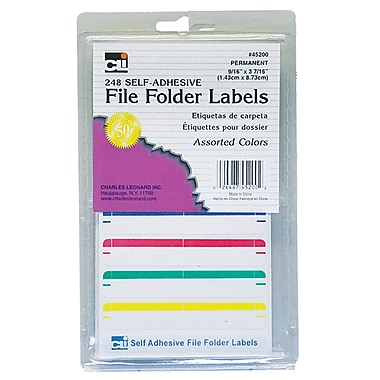 Charles Leonard File Folder Labels, Assorted, 1488 Labels/Pack (CHL45200)