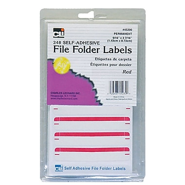 Charles Leonard File Folder Labels, Red, 6 packs of 248 (CHL45230)